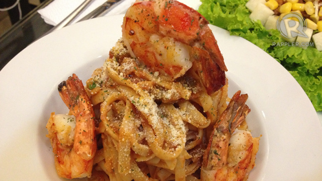 SHRIMP ETOUFEE PASTA. A satisfying mix of shrimp and pasta, for seafood lovers who like heavier meals before their decadent dessert