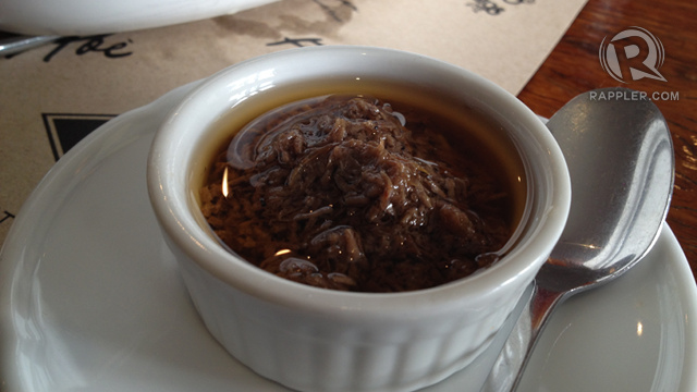 BAGOONG OR SHRIMP PASTE. Abe's bagoong is sauteed in garlic and a secret ingredient. It helps bring out the best in the kare-kare.