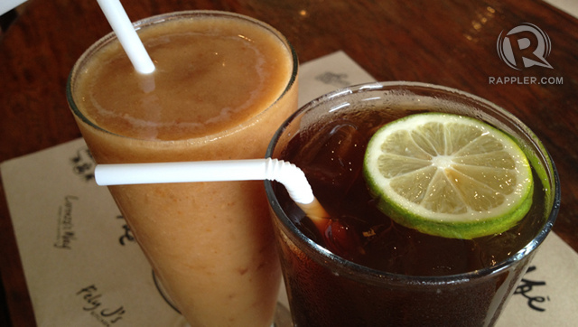 MUST-TRIES. The tamarind shake (left) is Abe's signature drink. The tanglad iced tea (right), brewed tea with lemongrass, is their best-seller.