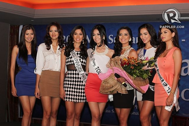 ALL HEART, FULL SUPPORT. Shamcey Supsup and Elaine Kay Moll (first and second from left) with Ara, Cindy, Mutya, Bea and Pia