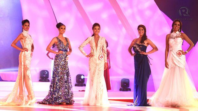 Top 5 finalists (from left) #10 Janicel Lubina; #20, Megan Young; #19 Bianca Paz; #5, Zahra Saldua; #18, Omarie Linn Osuna