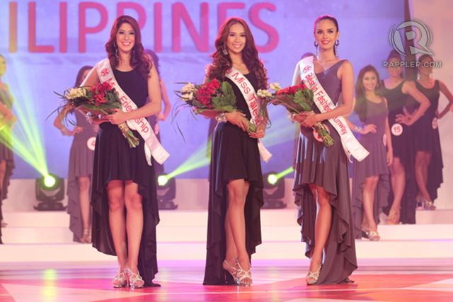 First 3 special awards: (from left) Miss Friendship, Zahra Saldua; Miss Talent, Sarah Mae Bernardo; and Best in Fashion Runway, Megan Young