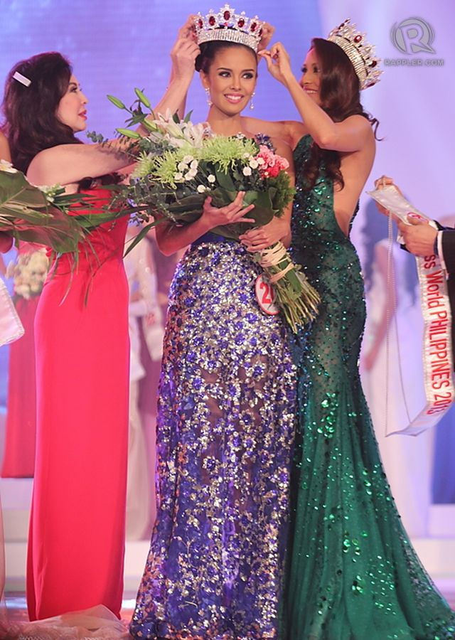 Miss World Philippines 2013: #20, Megan Young receiving her crown from Miss World Philippines pageant director Cory Quirino and Miss World Philippines 2012 Queenierich Rehman