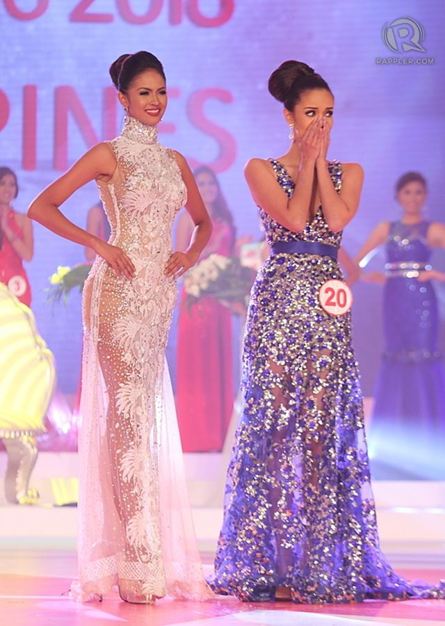 Megan's expression when #10 Janicel Lubina (left) was proclaimed 1st Princess
