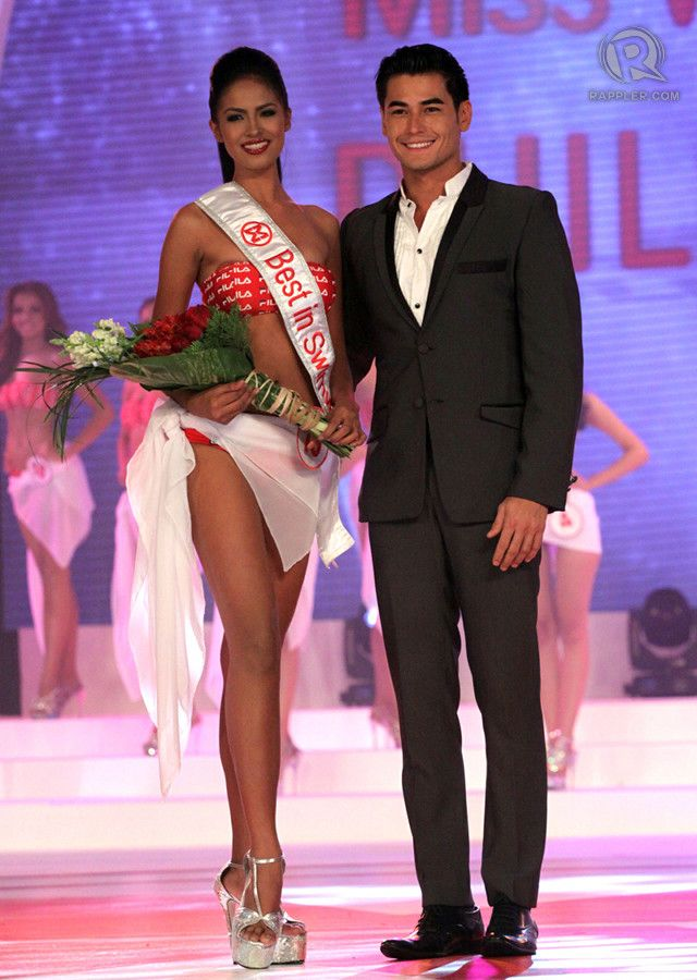 MISS WORLD PHILIPPINES 2013 FIRST PRINCESS Janicel Lubina of Puerto Princesa, Palawan. She was also Best in Swimwear and Miss Photogenic. With her in the photo is Brazilian-Japanese model-actor, Fabio Ide.
