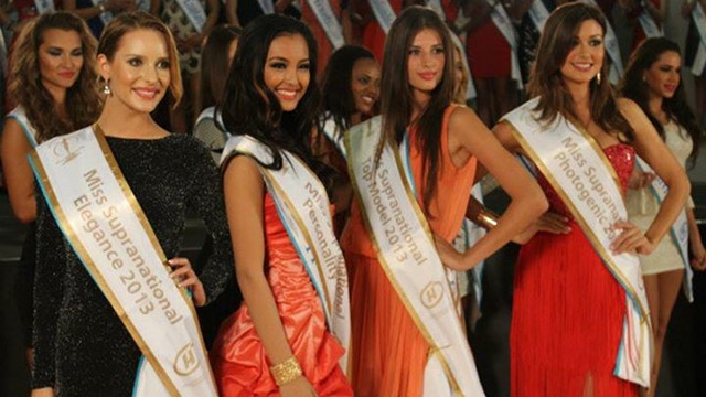 MISS PERSONALITY. Mutya Datul [second from left] after being awarded Miss Personality at a Miss Supranational pre-pageant event last August 29. Photo courtesy of Global Beauties
