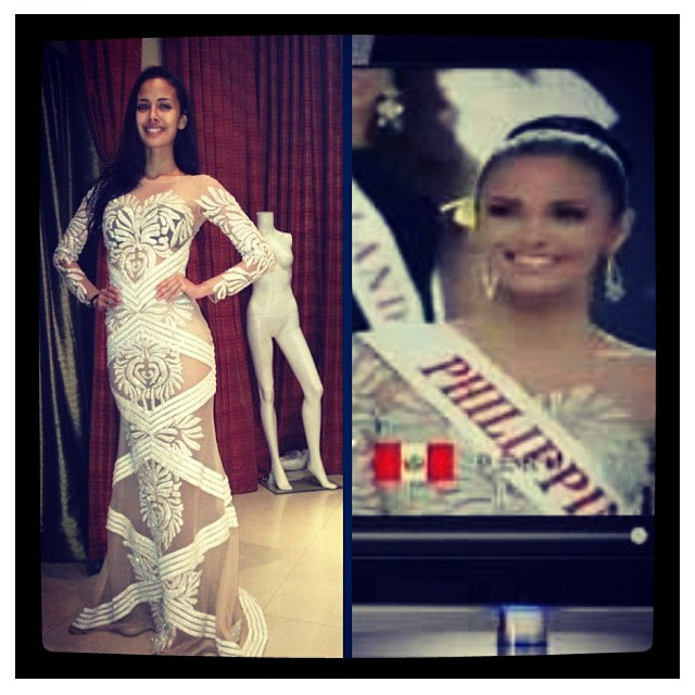 FRANCIS LIBIRAN CREATION. Megan Young fitting the white and nude Swarovski-studded gown in Manila [left] and a screen shot of her Miss World 2013 opening show introduction [right]. Instagram photo by Jonas Gaffud