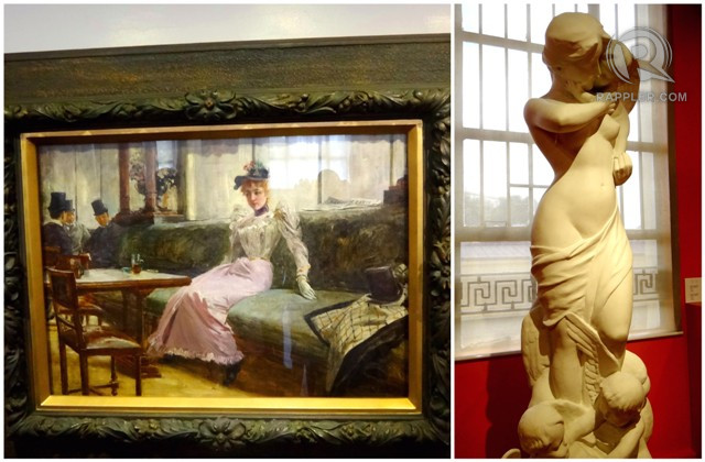 PHILIPPINE ART AND ARTIFACTS. The National Museum has new displays worth checking out, like 'The Parisian Life' by Juan Luna [left] and sculptures like this one on the right by Isabelo Tampinco