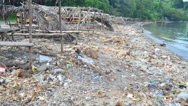 COASTAL TRASH. Garbage along Lea Beach in Batangas often end up in the Verde Island Passage, just an hour and a half boat's ride away. Photo courtesy of Marine Biological Society