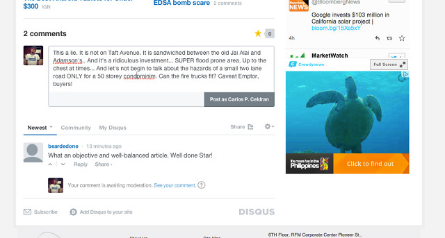 ONLINE TUSSLE. Carlos Celdran takes a screenshot of his comment on an article about Torre de Manila which was soon taken down. Image from Carlos Celdran