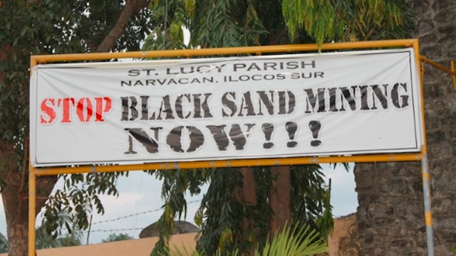 LIVES AT STAKE. Black sand mining destroys coasts leaving seaside communities exposed to the risks of sea level rise, storm surges and strong waves. File photo by Franzes Ivy Carasi