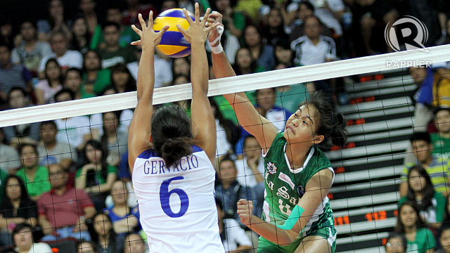 UNSTOPPABLE. Ara Galang of De La Salle University spikes a point home during a previous game. She top-scored Saturday's game with 15 points. Photo by Josh Abelda
