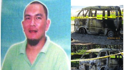 The Zamboanga del Norte Police Office releases photos of abducted Salug town mayor Jeffrey Lim (left) and the torched get-away vehicle used by his abductors (right) found in Barangay Caracol.