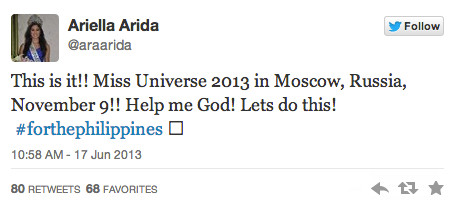 MOSCOW BOUND. Ariella Arida confirms Miss Universe 2013 in Moscow, Russia for November 9. Screen shot from Twitter
