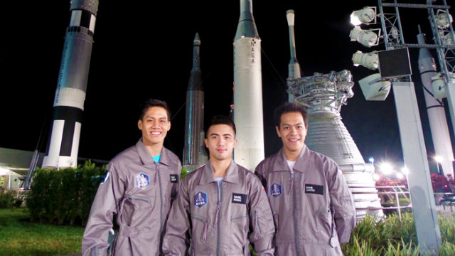 THE TRIUMVERATE. Chino Roque together with fellow competitors Evan Ray Datuin and Ramil Santos at the Kennedy Space Center Rocket Garden. Photo courtesy of Axe Philippines