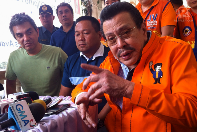 'EASTERADA SUNDAY.' Vice President Jejomar Binay, Senate President Juan Ponce Enrile and UNAu2019s senatorial candidates will all be present to support Estradau2019s bid for Manila mayor in his Sunday proclamation. File photo by Rappler/Ayee Macaraig
