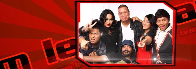 BYE, BRO. u2018The Voice PHLu2019su2019 RJ (far left) bids adieu to Team Leau2019s (clockwise from left) live-show survivor Radha, Mitoy, Diday, Kimpoy and live-show winner Darryl