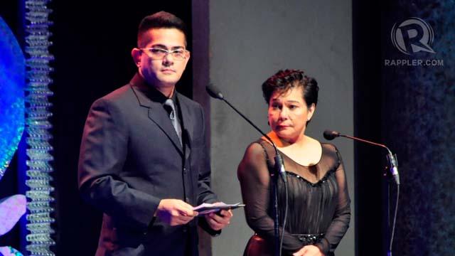 Councilor Robert Ortega and Nora Aunor presented a special award to Senator Lito Lapid