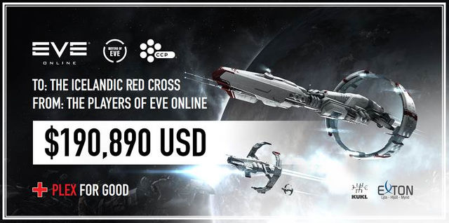 GIVING FOR GOOD. A closer look at CCP's check to the Icelandic Red Cross. Image from CCP Games