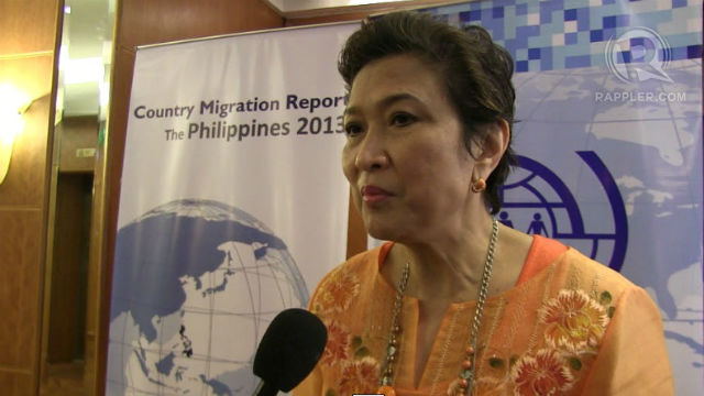 TIME FOR REPATRIATION? CFO Chairperson Imelda Nicolas says the government continues to generate domestic jobs so that OFWs will be enticed to go back to the Philippines. Photo by Sam Evardone.
