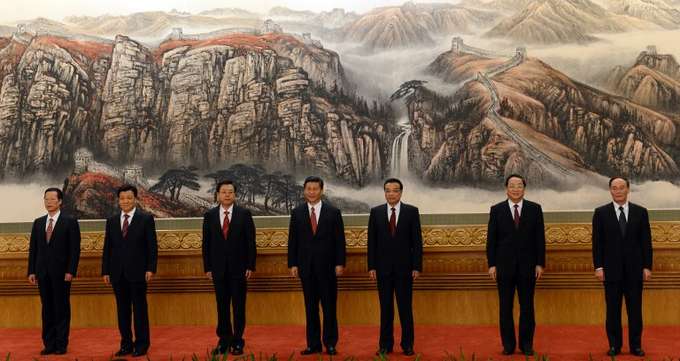 CHINA'S LEADERS. The Communist Party of China's new Politburo Standing Committee, the nation's top decision-making body (L-R): Zhang Gaoli, Liu Yunshan, Zhang Dejiang, Xi Jinping, Li Keqiang, Yu Zhengsheng and Wang Qishan meet the press at the Great Hall of the People in Beijing on 15 November 15, 2012. AFP PHOTO/Mark RALSTON