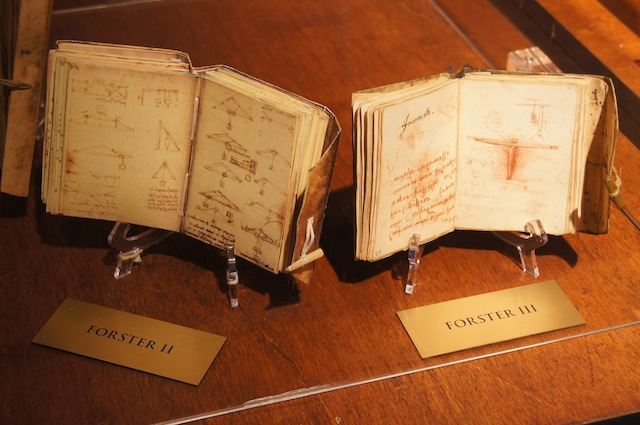 CODICES. These reproductions of Da Vinci's original codices were made to look like the original. Photo courtesy Mind Museum