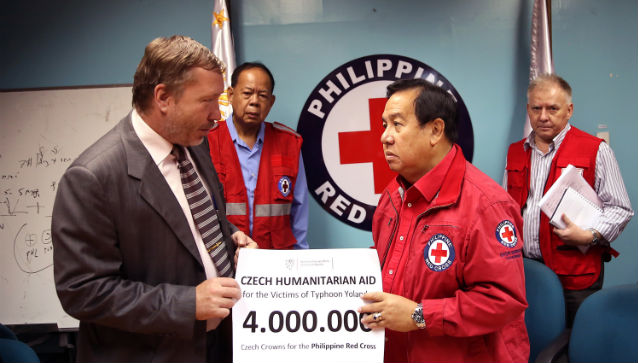DONATION. Ambassador Josef Rychtar and Red Cross Richard Berger Chief during the turn over of the Czech Republic's donation for the Typhoon Yolanda relief operations. Photo provided by the Czech Embassy in Manila.