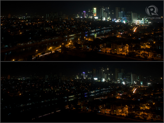 LOOK CLOSER: From afar, it can be quite unnoticeable how Manila participated in this year's Earth Hour. But look closer and you will notice streetlights, billboards and high rise buildings go dark. RAPPLER/John Javellana