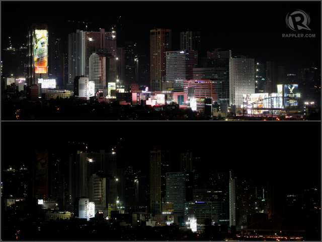 HIGH-RISE BUILDINGS: Residents and workers in high-rise buildings also participate in Earth Hour. RAPPLER/John Javellana