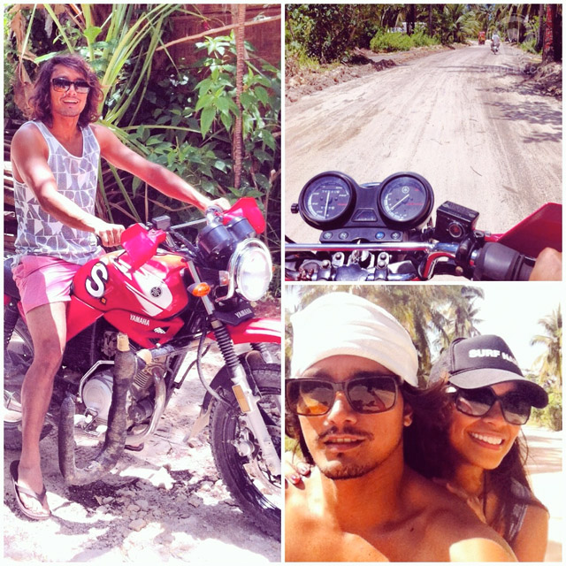 'HABAL-HABAL' OR MOTORCYCLE is the main mode of transport in Siargao. Photo shows the author with Billabong pro surfer Luke Landrigan. Photo from Elaine Abonal