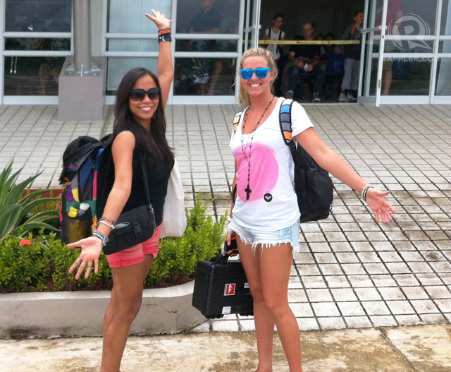 WAITING FOR THE SURFBOARDS. Arriving at the Siargao airport with Australian Roxy pro surfer Philippa Anderson. Photo from Elaine Abonal
