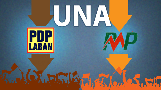 UNA TANDEM. Vice President Jejomar Binay's coalition is limiting its alliance to these two parties. Illustration by Ernest John Fiestan