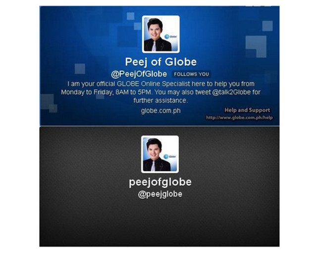 REAL VERSUS IMPOSTOR. A real Globe Community Manager's Twitter account versus a fake one. Screen shot from Twitter.