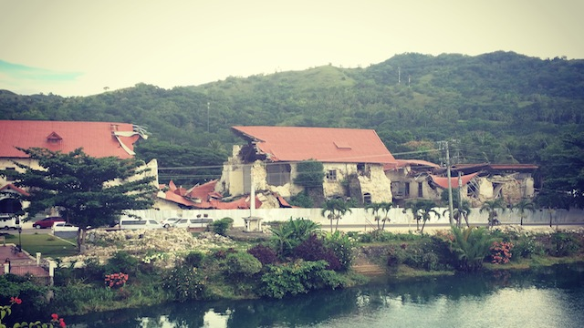 CRACKED LOBOC CATHEDRAL. The damage is drastic, and will take a while to rebuild.