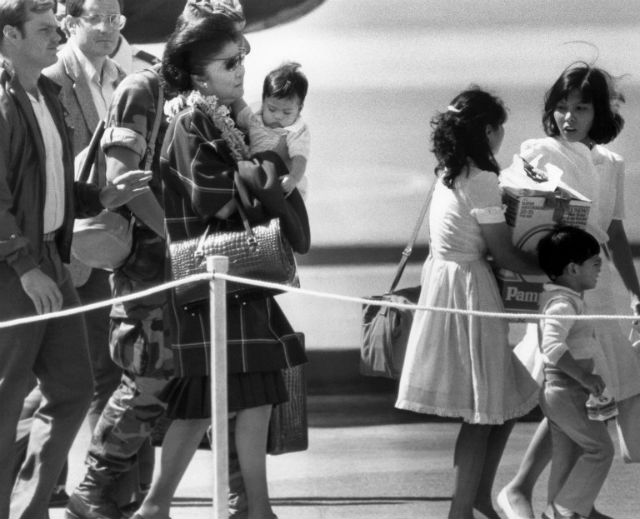 EXILE. Mrs. Marcos arrives in Hawaii on the last day of the People Power Revolution. Photo: Carl Viti/AFP