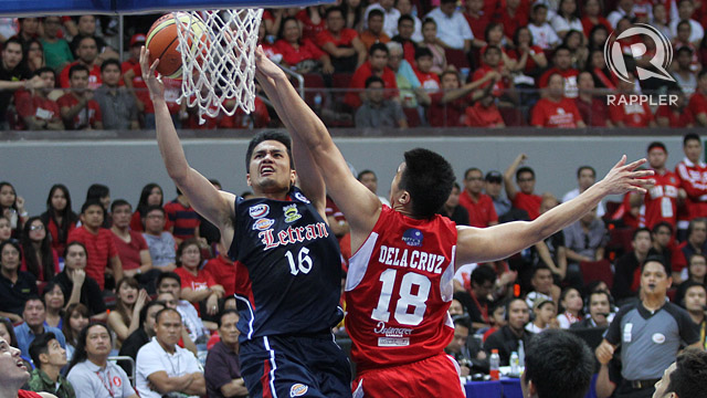 FOURTH STRAIGHT. The San Beda Red Lions secure their fourth straight championship and their 18th basketball title at the expense of last year's finals rivals Letran Knights. File photo by Josh Albelda/Rappler.com
