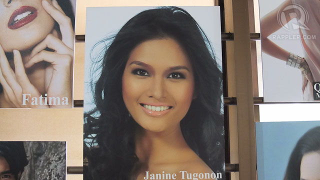 MODEL STANDOUT. Miss Philippines Universe Janine Tugonon's setcard amidst the setcards of the other Mercator models