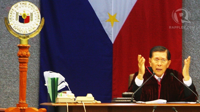 DON'T LECTURE. For the first time, Senate President Juan Ponce Enrile scolds Cuevas, telling him not to lecture the Senate about due process. Photo by Emil Sarmiento