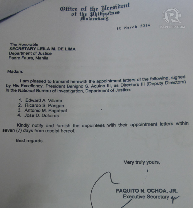 LETTER. Copy of cover letter to DOJ Secretary Leila de Lima. Photo by Buena Bernal/Rappler
