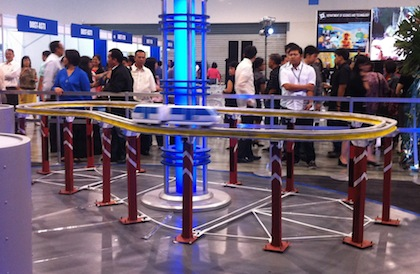 MONORAIL. A model of the proposed UP Diliman Monorail, one of the DOST's High Impact Technology Solutions (HITS) projects, on display at the 2012 National Science and Technology Week at the SMX Convention Center in Pasay City, July 10, 2012. Photo by KD Suarez.