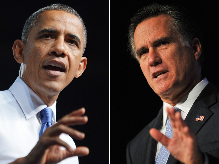 THE BATTLE IS ON. This combination of file pictures shows US President Barack Obama (L) speaking during a campaign event at Prime Osborn Convention Center July 19, 2012 in Jacksonville, Florida, and US Republican presidential hopeful Mitt Romney (R) addressing the Family Research Council's Values Voter Summit in Washington on October 8, 2011. AFP PHOTO/Mandel NGAN /Nicholas KAMM/FILES