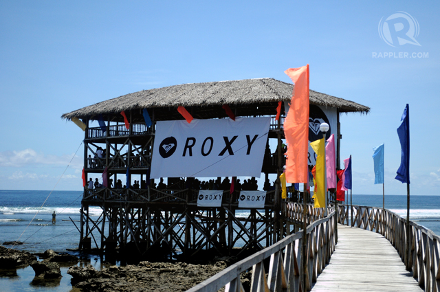 ROXY-FIED. The tower at Cloud 9 where surfing fanatics stayed for the best view of the competition.