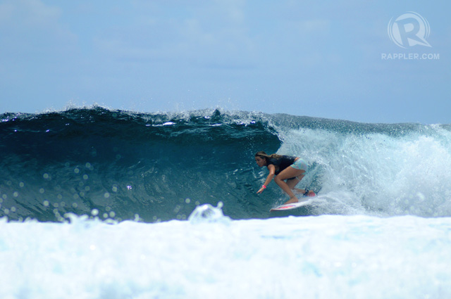 INTO A BARREL. Philippa Anderson on day 2 of the competition.