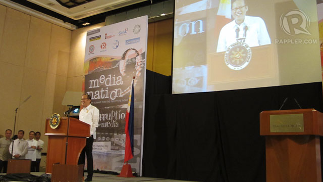 CREATIVE DESTRUCTION. President Aquino speaks before participants of Media Nation 9 in Tagaytay on November 23. Photo by Ira Cruz
