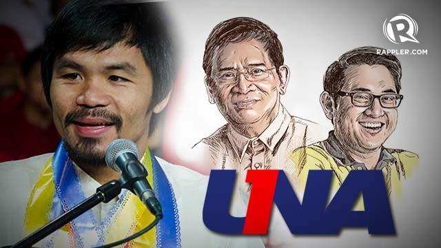 PACMAN'S PICKS. Manny Pacquiao endorses the entire UNA slate as well as Bam Aquino and Eddie Villanueva.