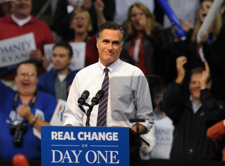 LAST STOP: NEW HAMPSHIRE Republican presidential candidate, former Massachusetts Gov. Mitt Romney speaks at a rally on November 5, 2012 at the Verizon Wireless Arena in Manchester, New Hampshire. Darren McCollester/Getty Images/AFP