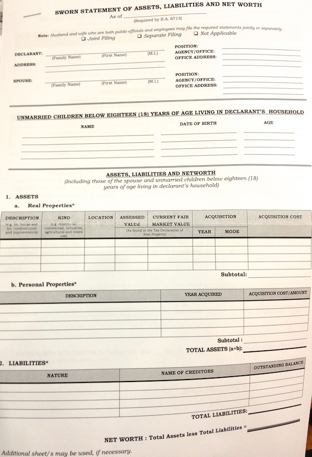 SIMPLER. Page 1 of the new SALN form