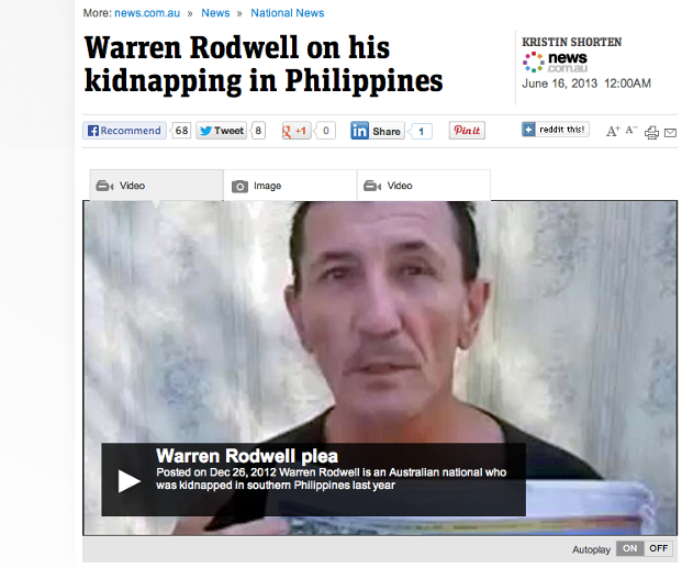 BETTER. Warren Rodwell says he u201cpulled up pretty wellu201d since he was released by Abu Sayaff earlier this year. Screenshot from news.com.au