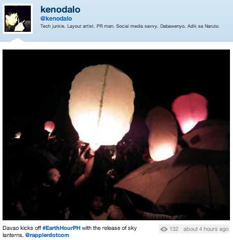 SWITCH-OFF IN THE SOUTH. Davao released sky lanterns to celebrate Earth Hour 2012