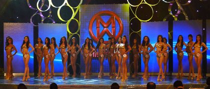 Contestants show off in their swimwear outfits.